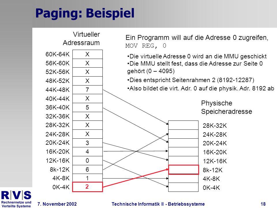 Technische Informatik II - Betriebssysteme 7. November 2002Technische Informatik II - Betriebssysteme18 Paging: Beispiel 2 1 6 0 4 3 X X X 5 X 7 X X X
