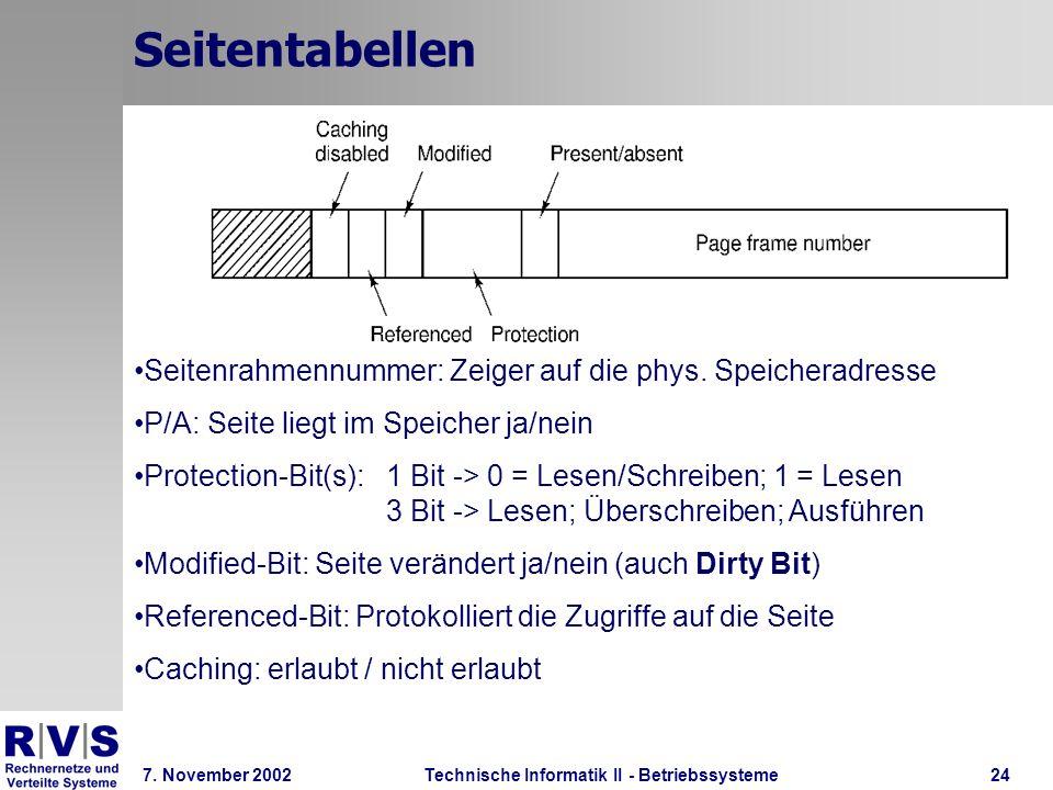 Technische Informatik II - Betriebssysteme 7. November 2002Technische Informatik II - Betriebssysteme24 Seitentabellen Seitenrahmennummer: Zeiger auf