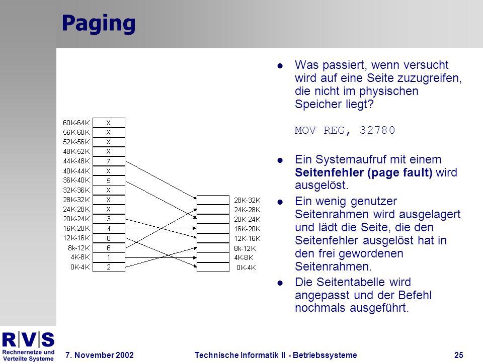 Technische Informatik II - Betriebssysteme 7. November 2002Technische Informatik II - Betriebssysteme25 Paging Was passiert, wenn versucht wird auf ei