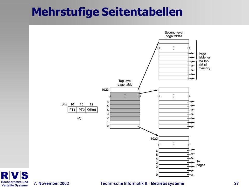 Technische Informatik II - Betriebssysteme 7. November 2002Technische Informatik II - Betriebssysteme27 Mehrstufige Seitentabellen