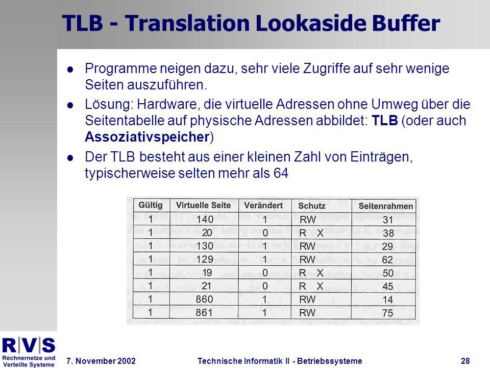 Technische Informatik II - Betriebssysteme 7. November 2002Technische Informatik II - Betriebssysteme28 TLB - Translation Lookaside Buffer Programme n
