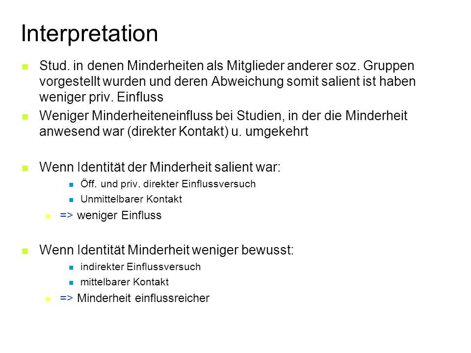 Interpretation Stud. in denen Minderheiten als Mitglieder anderer soz.