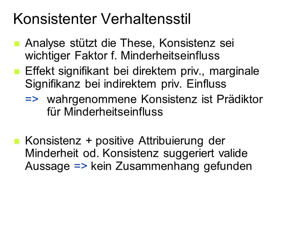 Konsistenter Verhaltensstil Analyse stützt die These, Konsistenz sei wichtiger Faktor f.