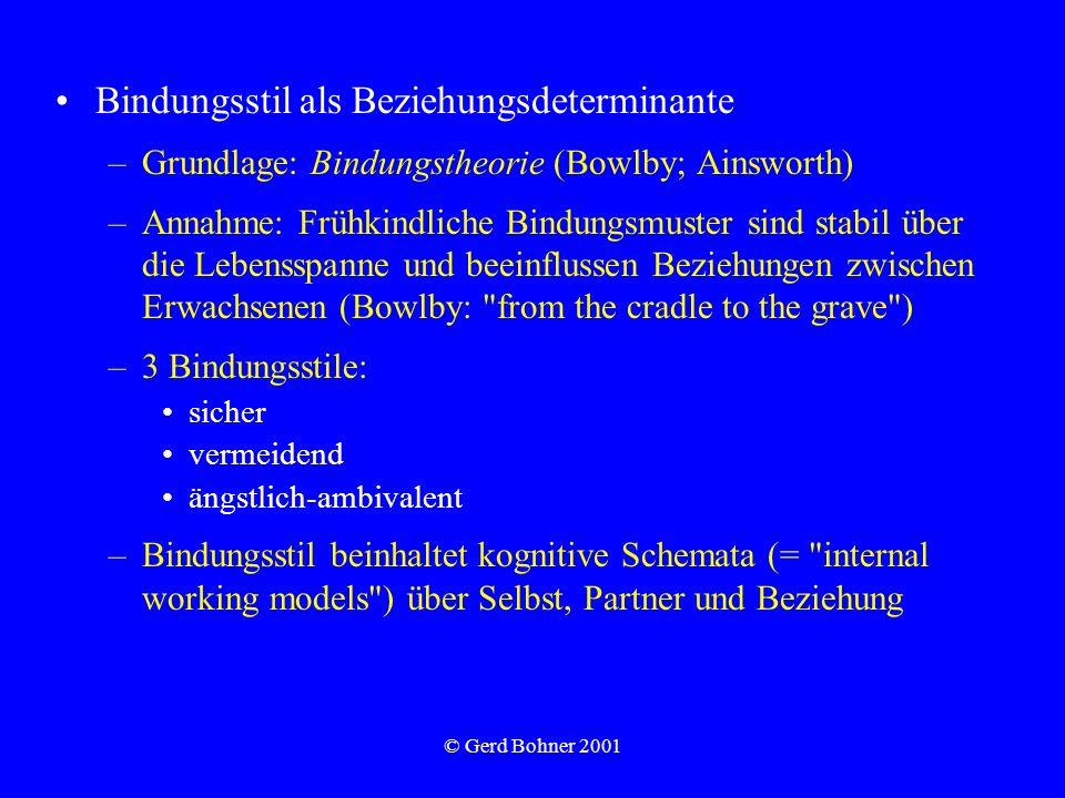 © Gerd Bohner 2001 Bindungsstil als Beziehungsdeterminante –Grundlage: Bindungstheorie (Bowlby; Ainsworth) –Annahme: Frühkindliche Bindungsmuster sind