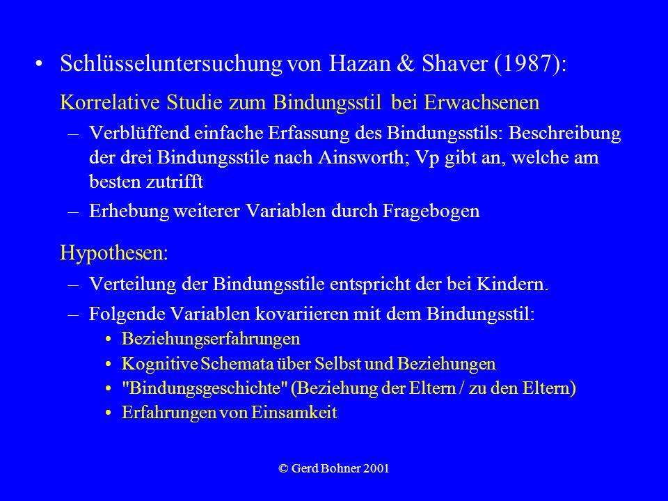 © Gerd Bohner 2001 Schlüsseluntersuchung von Hazan & Shaver (1987): Korrelative Studie zum Bindungsstil bei Erwachsenen –Verblüffend einfache Erfassun