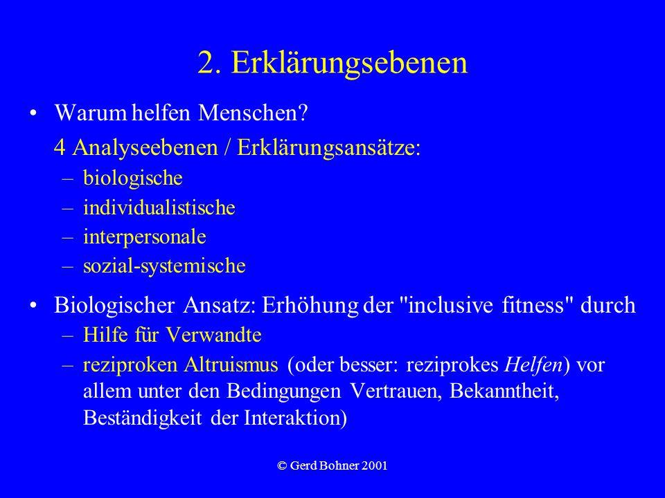 © Gerd Bohner 2001 2. Erklärungsebenen Warum helfen Menschen? 4 Analyseebenen / Erklärungsansätze: –biologische –individualistische –interpersonale –s