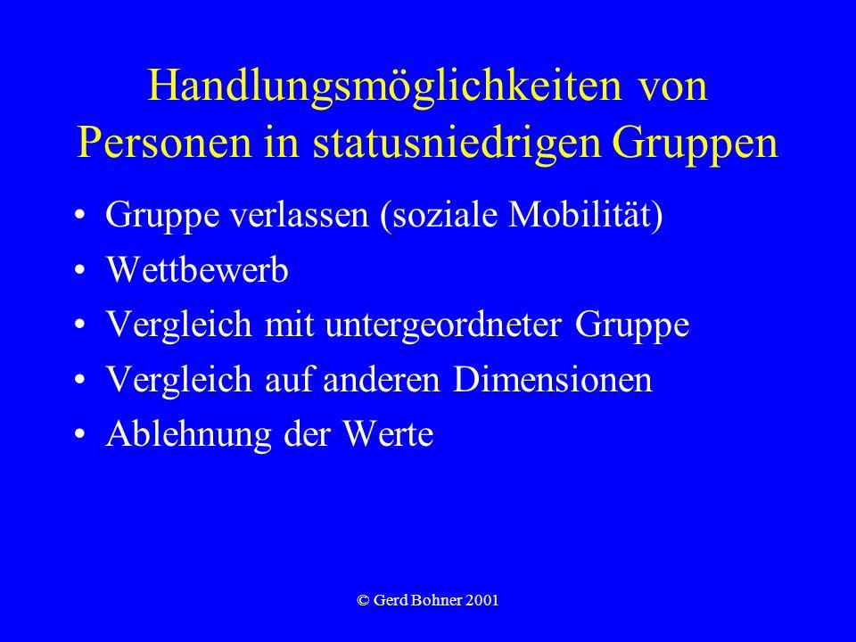 © Gerd Bohner 2001 Handlungsmöglichkeiten von Personen in statusniedrigen Gruppen Gruppe verlassen (soziale Mobilität) Wettbewerb Vergleich mit unterg