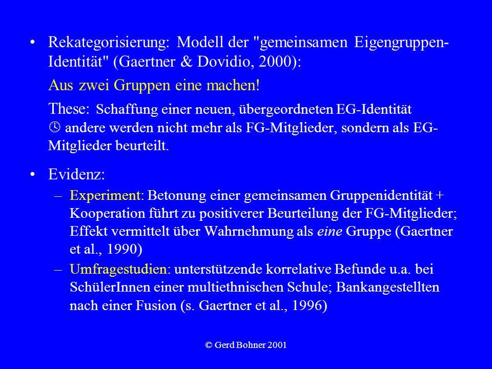 © Gerd Bohner 2001 Rekategorisierung: Modell der