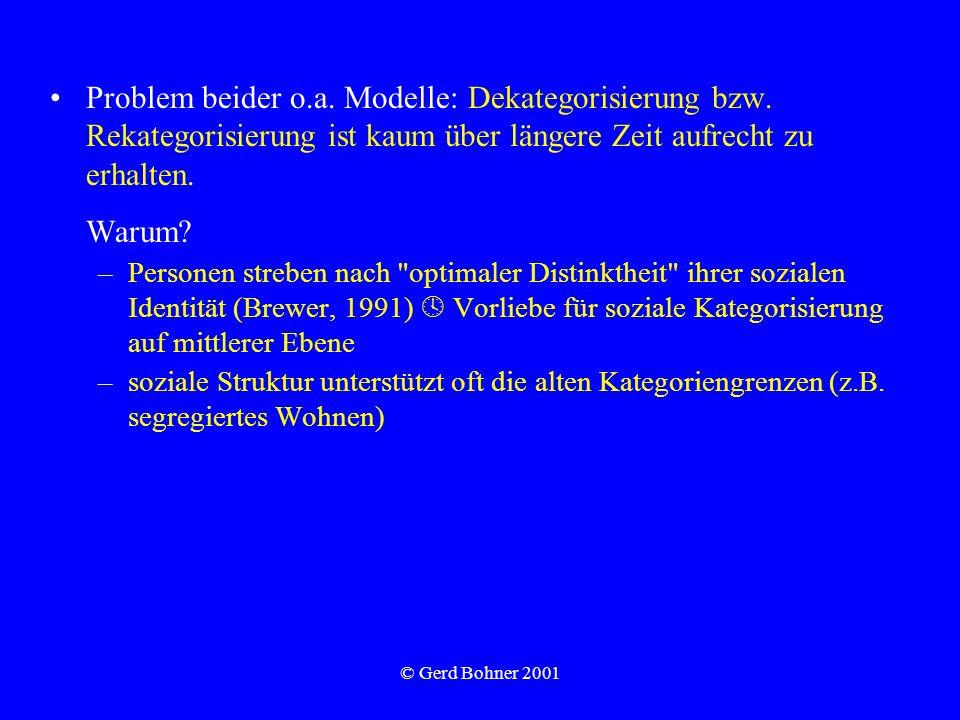 © Gerd Bohner 2001 Problem beider o.a. Modelle: Dekategorisierung bzw. Rekategorisierung ist kaum über längere Zeit aufrecht zu erhalten. Warum? –Pers