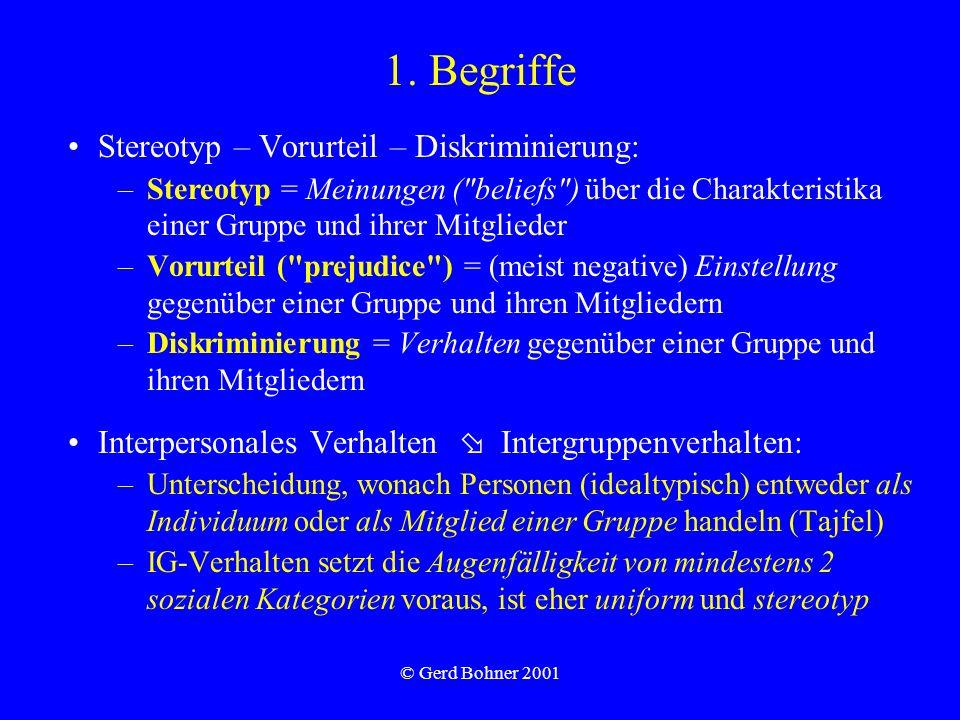 © Gerd Bohner 2001 1. Begriffe Stereotyp – Vorurteil – Diskriminierung: –Stereotyp = Meinungen (