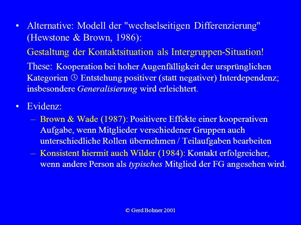 © Gerd Bohner 2001 Alternative: Modell der