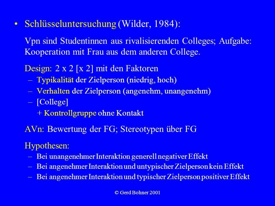 © Gerd Bohner 2001 Schlüsseluntersuchung (Wilder, 1984): Vpn sind Studentinnen aus rivalisierenden Colleges; Aufgabe: Kooperation mit Frau aus dem and