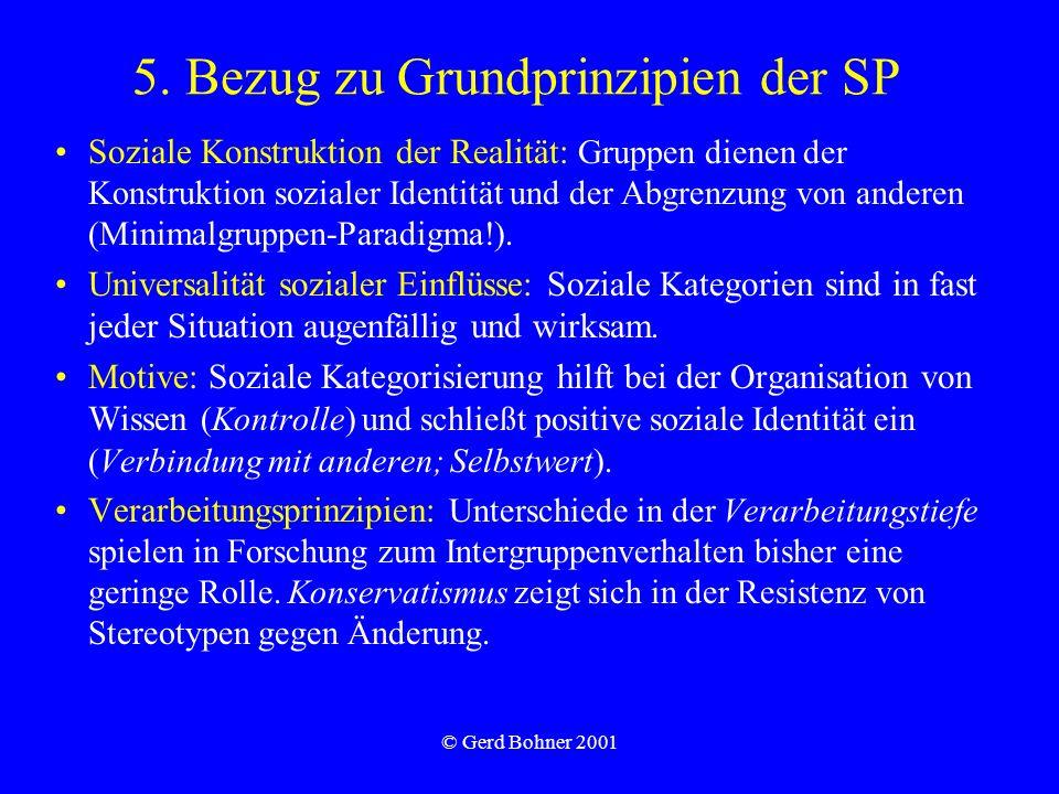 © Gerd Bohner 2001 5. Bezug zu Grundprinzipien der SP Soziale Konstruktion der Realität: Gruppen dienen der Konstruktion sozialer Identität und der Ab