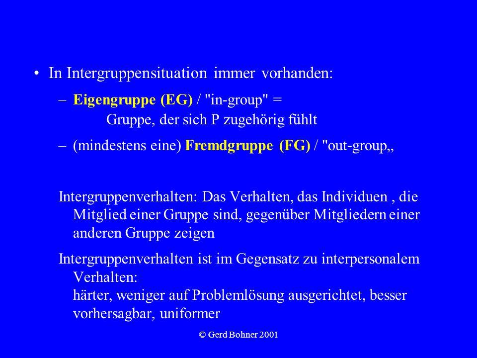 © Gerd Bohner 2001 In Intergruppensituation immer vorhanden: –Eigengruppe (EG) /