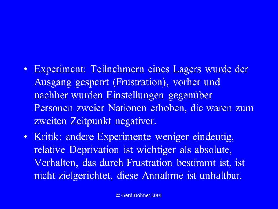 © Gerd Bohner 2001 Experiment: Teilnehmern eines Lagers wurde der Ausgang gesperrt (Frustration), vorher und nachher wurden Einstellungen gegenüber Pe
