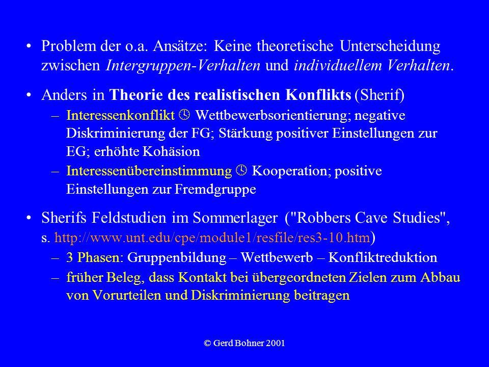 © Gerd Bohner 2001 Problem der o.a. Ansätze: Keine theoretische Unterscheidung zwischen Intergruppen-Verhalten und individuellem Verhalten. Anders in