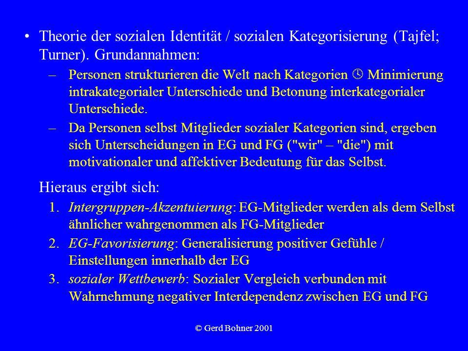 © Gerd Bohner 2001 Theorie der sozialen Identität / sozialen Kategorisierung (Tajfel; Turner). Grundannahmen: –Personen strukturieren die Welt nach Ka