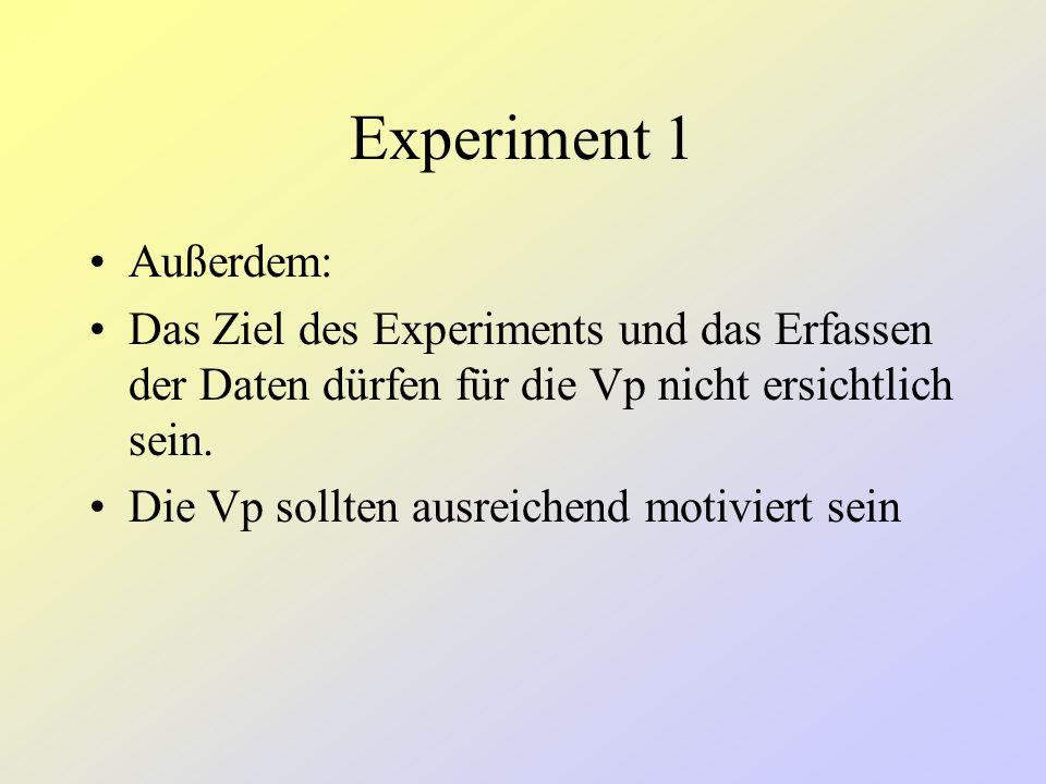 Man benötigt ein Experiment, dass kontrollieren bzw. messen kann: –Die räumliche und zeitliche Struktur der beobachteten Szene –Die Intentionen des Be