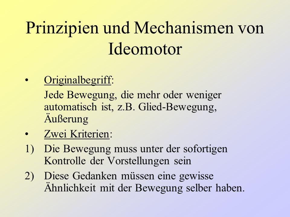 Definition Ideomotorik Bezeichnung für die Bewegungen, die aufgrund von emotional- oder affektgetönten Vorstellung unwillkürlich zustande kommen.