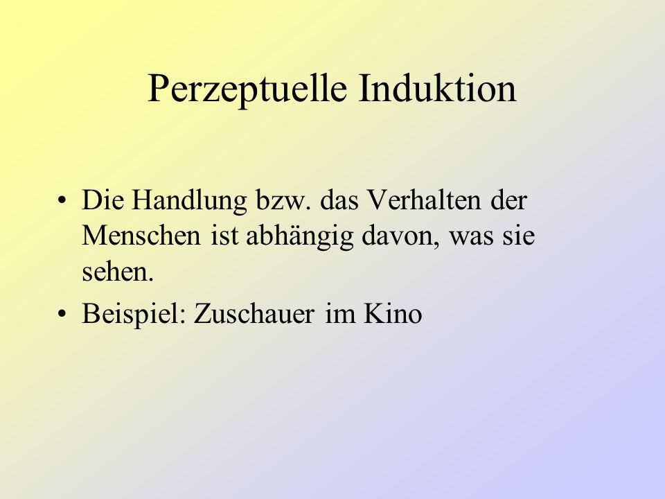 Interpretationsmöglichkeiten 1)Ideomotor Action ist ein spezieller Fall von Imitation (Nachahmung) Perceptual Induction (perzeptuelle oder wahrnehmbar