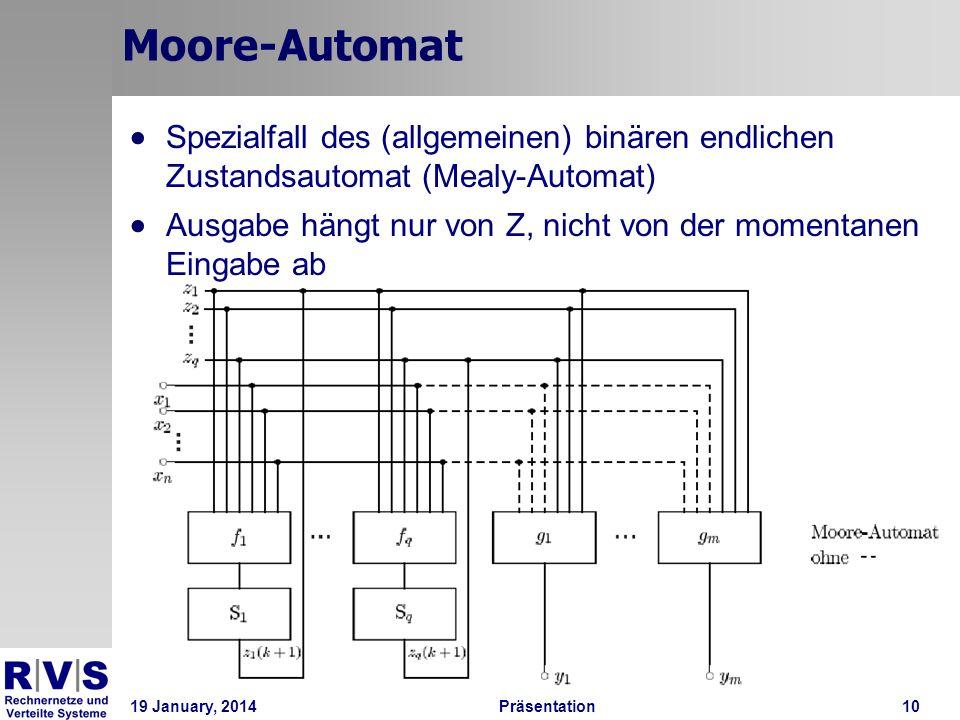 19 January, 2014Präsentation 10 Moore-Automat Spezialfall des (allgemeinen) binären endlichen Zustandsautomat (Mealy-Automat) Ausgabe hängt nur von Z,