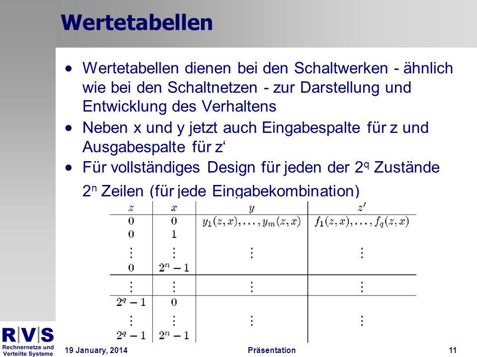 19 January, 2014Präsentation 11 Wertetabellen Wertetabellen dienen bei den Schaltwerken - ähnlich wie bei den Schaltnetzen - zur Darstellung und Entwi