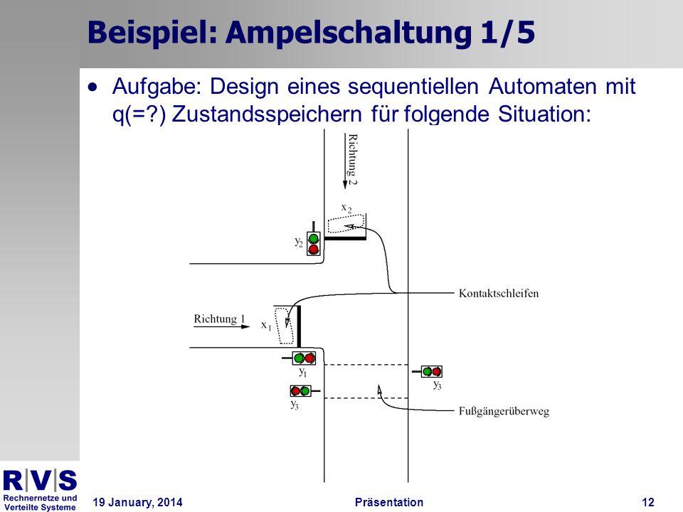 19 January, 2014Präsentation 12 Beispiel: Ampelschaltung 1/5 Aufgabe: Design eines sequentiellen Automaten mit q(=?) Zustandsspeichern für folgende Si