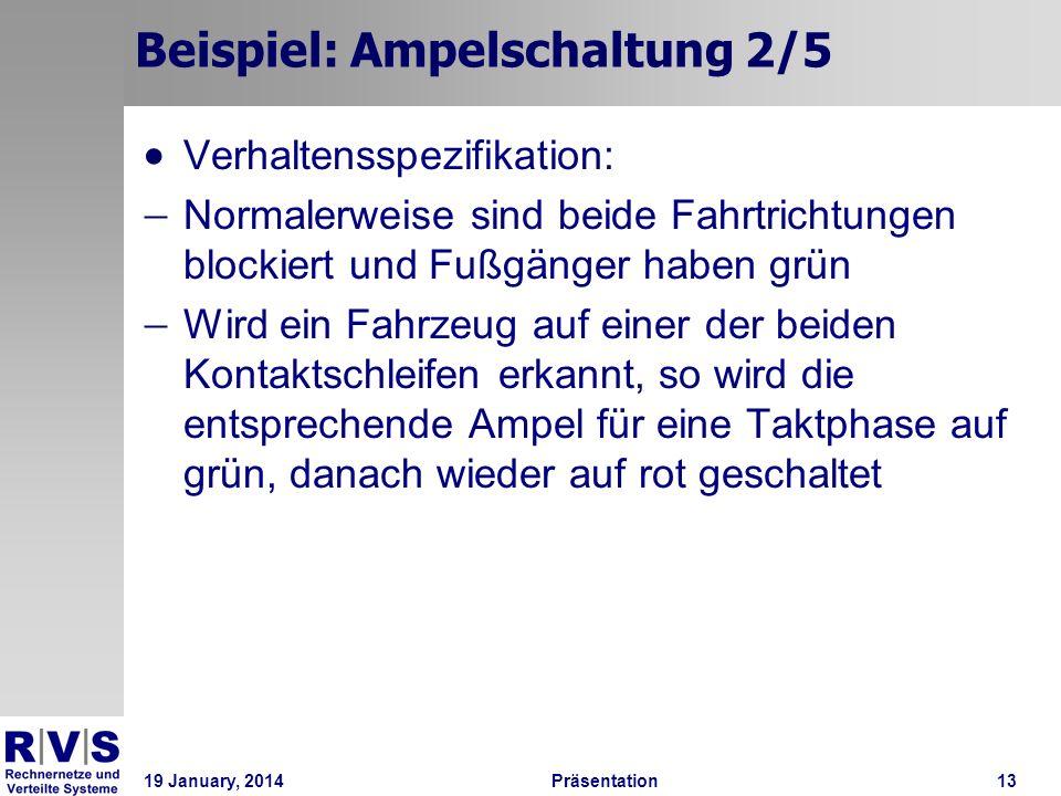 19 January, 2014Präsentation 13 Beispiel: Ampelschaltung 2/5 Verhaltensspezifikation: Normalerweise sind beide Fahrtrichtungen blockiert und Fußgänger