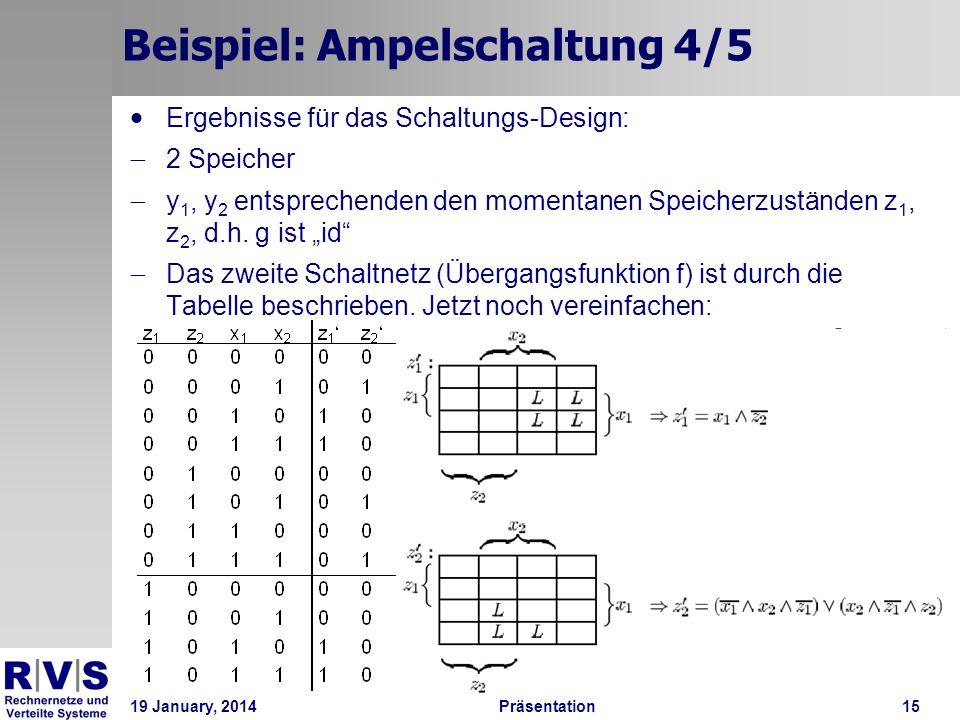 19 January, 2014Präsentation 15 Beispiel: Ampelschaltung 4/5 Ergebnisse für das Schaltungs-Design: 2 Speicher y 1, y 2 entsprechenden den momentanen S