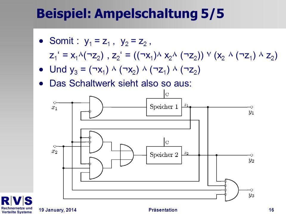 19 January, 2014Präsentation 16 Beispiel: Ampelschaltung 5/5 Somit : y 1 = z 1, y 2 = z 2, z 1 = x 1 ۸(¬z 2 ), z 2 = ((¬x 1 )۸ x 2 ۸ (¬z 2 )) ۷ (x 2 ۸