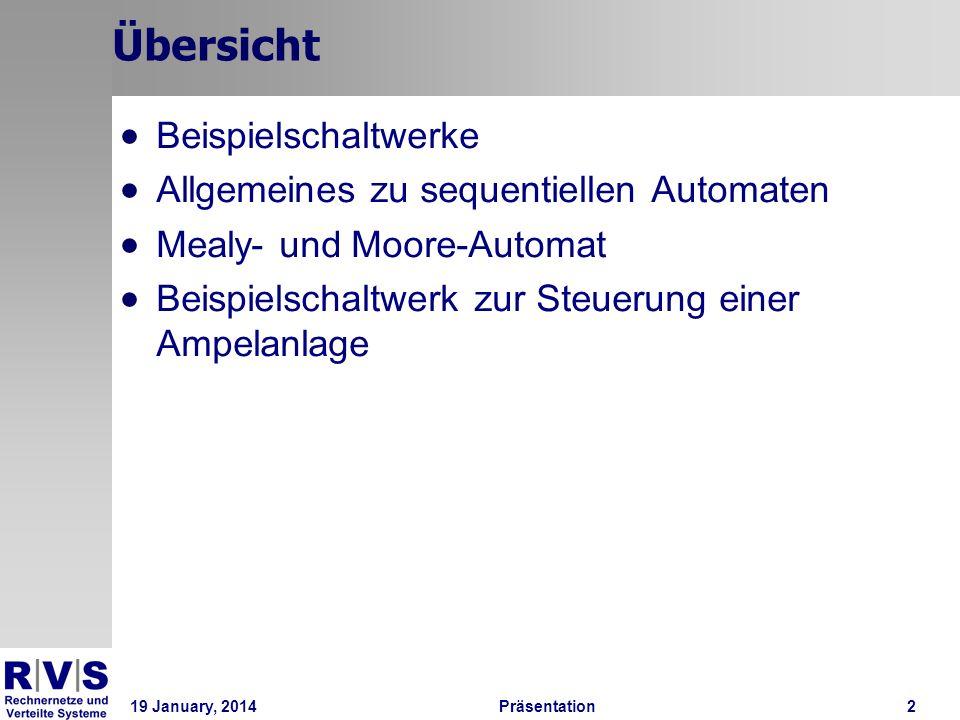 19 January, 2014Präsentation 2 Übersicht Beispielschaltwerke Allgemeines zu sequentiellen Automaten Mealy- und Moore-Automat Beispielschaltwerk zur St