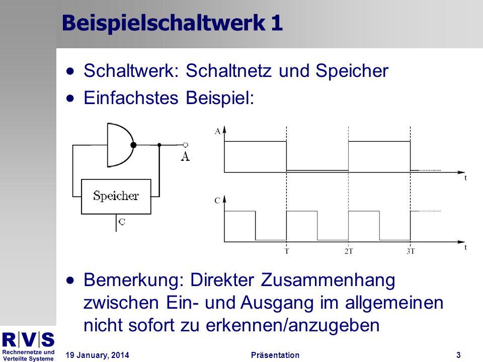 19 January, 2014Präsentation 3 Beispielschaltwerk 1 Schaltwerk: Schaltnetz und Speicher Einfachstes Beispiel: Bemerkung: Direkter Zusammenhang zwische