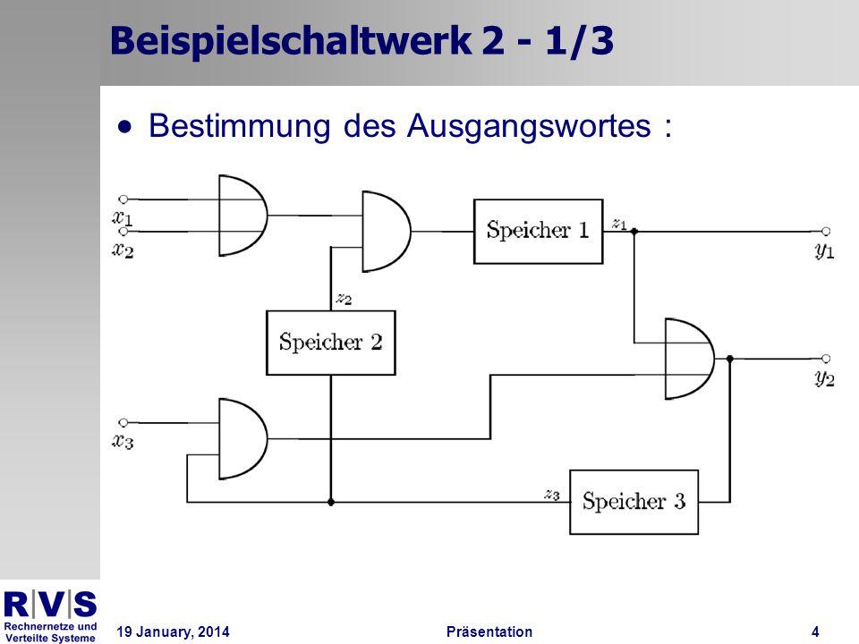 19 January, 2014Präsentation 4 Beispielschaltwerk 2 - 1/3 Bestimmung des Ausgangswortes :