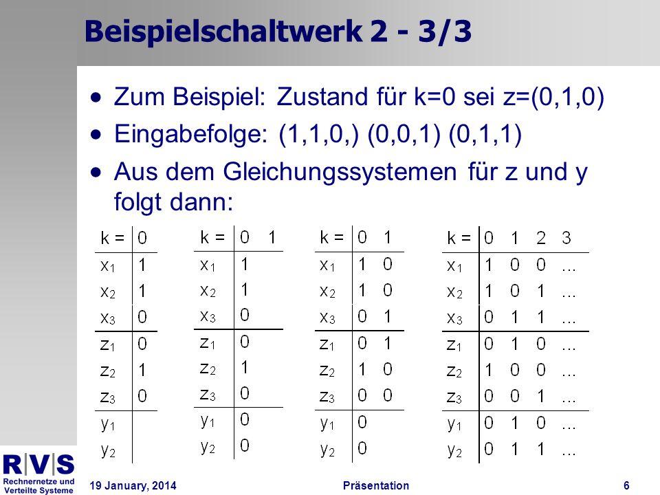 19 January, 2014Präsentation 6 Beispielschaltwerk 2 - 3/3 Zum Beispiel: Zustand für k=0 sei z=(0,1,0) Eingabefolge: (1,1,0,) (0,0,1) (0,1,1) Aus dem G