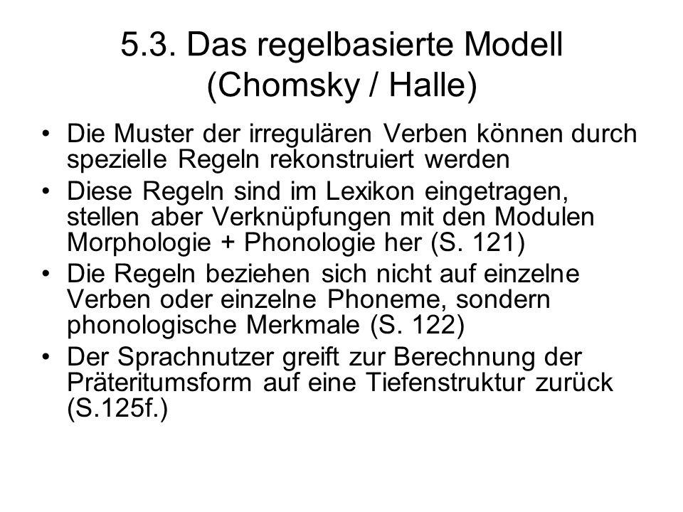 5.3. Das regelbasierte Modell (Chomsky / Halle) Die Muster der irregulären Verben können durch spezielle Regeln rekonstruiert werden Diese Regeln sind
