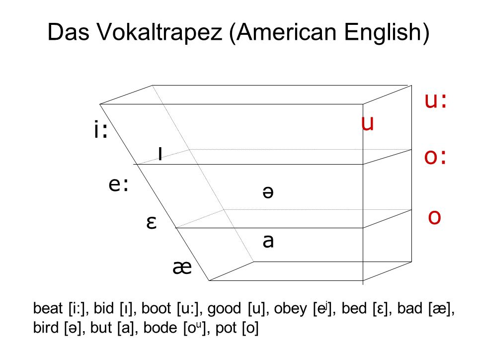 Das Vokaltrapez (American English) i: e: æ a u: o: o ə ı u ε beat [i:], bid [ı], boot [u:], good [u], obey [e j ], bed [ε], bad [æ], bird [ə], but [a], bode [o u ], pot [o]