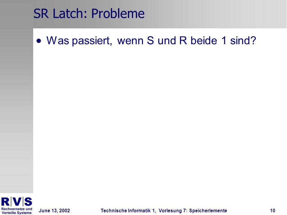 June 13, 2002Technische Informatik 1, Vorlesung 7: Speicherlemente10 SR Latch: Probleme Was passiert, wenn S und R beide 1 sind