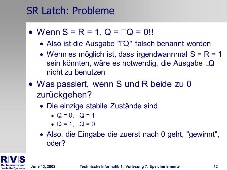 June 13, 2002Technische Informatik 1, Vorlesung 7: Speicherlemente12 SR Latch: Probleme Wenn S = R = 1, Q = Q = 0!.