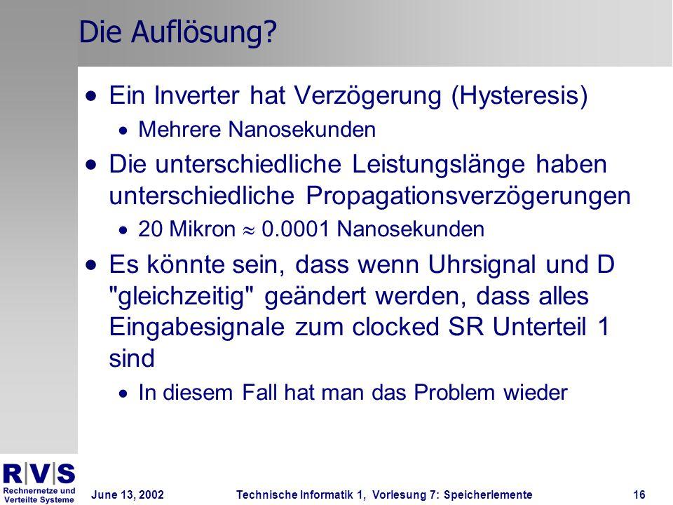 June 13, 2002Technische Informatik 1, Vorlesung 7: Speicherlemente16 Die Auflösung.