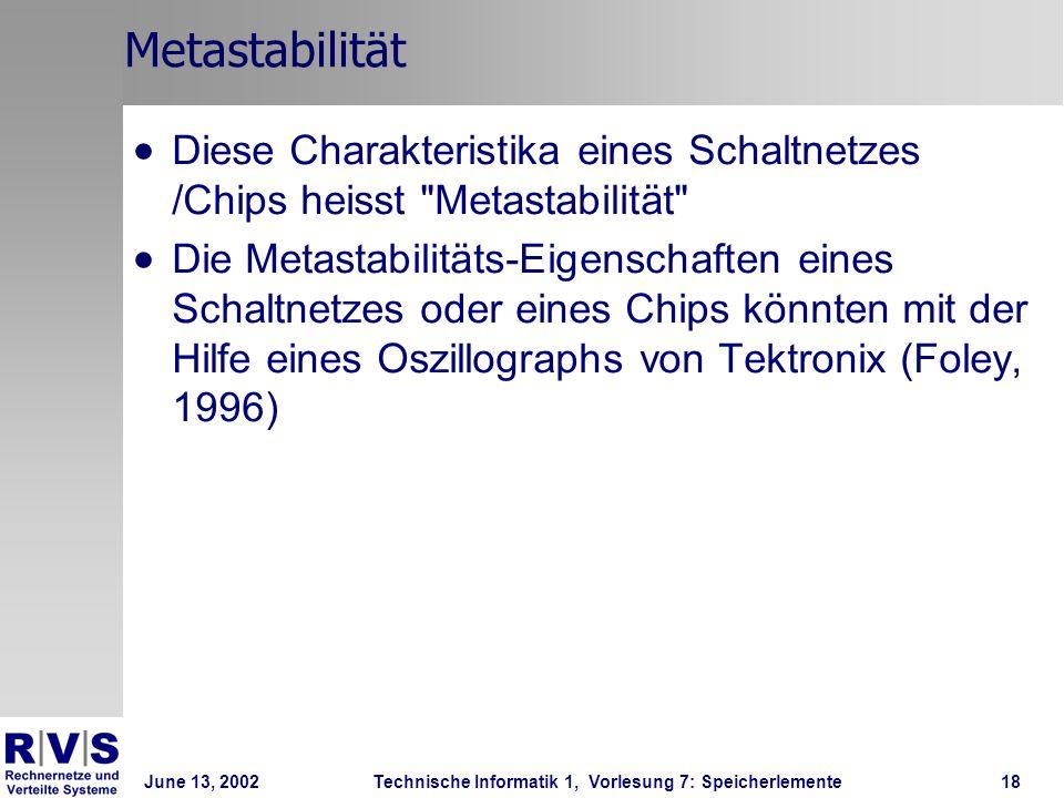 June 13, 2002Technische Informatik 1, Vorlesung 7: Speicherlemente18 Metastabilität Diese Charakteristika eines Schaltnetzes /Chips heisst Metastabilität Die Metastabilitäts-Eigenschaften eines Schaltnetzes oder eines Chips könnten mit der Hilfe eines Oszillographs von Tektronix (Foley, 1996)
