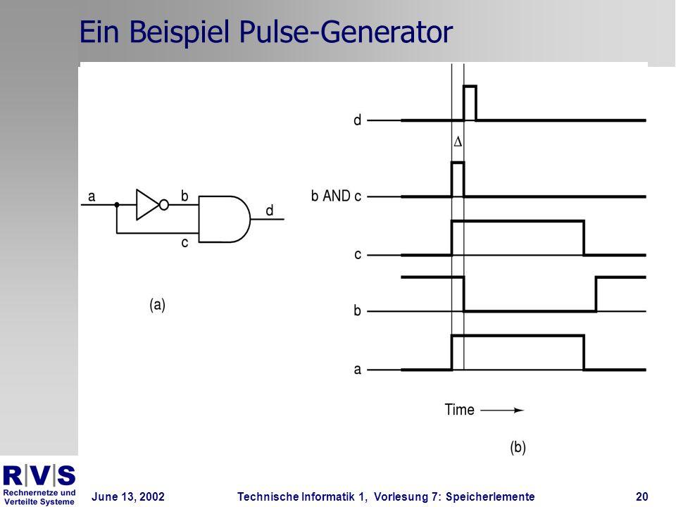 June 13, 2002Technische Informatik 1, Vorlesung 7: Speicherlemente20 Ein Beispiel Pulse-Generator