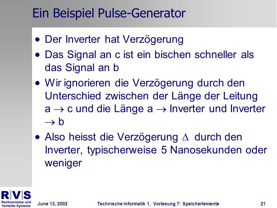 June 13, 2002Technische Informatik 1, Vorlesung 7: Speicherlemente21 Ein Beispiel Pulse-Generator Der Inverter hat Verzögerung Das Signal an c ist ein bischen schneller als das Signal an b Wir ignorieren die Verzögerung durch den Unterschied zwischen der Länge der Leitung a c und die Länge a Inverter und Inverter b Also heisst die Verzögerung durch den Inverter, typischerweise 5 Nanosekunden oder weniger