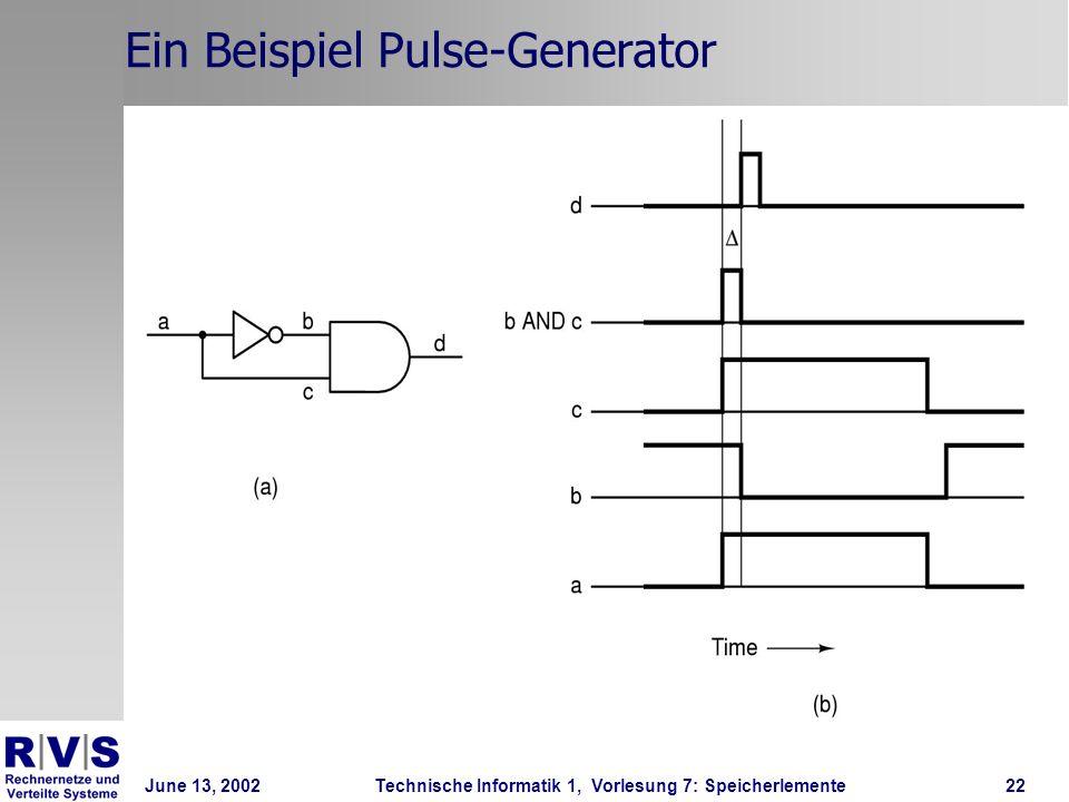 June 13, 2002Technische Informatik 1, Vorlesung 7: Speicherlemente22 Ein Beispiel Pulse-Generator