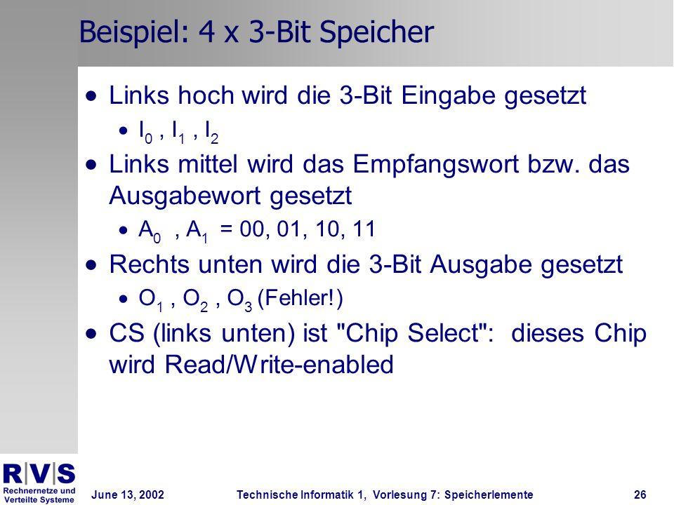 June 13, 2002Technische Informatik 1, Vorlesung 7: Speicherlemente26 Beispiel: 4 x 3-Bit Speicher Links hoch wird die 3-Bit Eingabe gesetzt I 0, I 1, I 2 Links mittel wird das Empfangswort bzw.