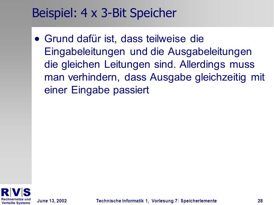 June 13, 2002Technische Informatik 1, Vorlesung 7: Speicherlemente28 Beispiel: 4 x 3-Bit Speicher Grund dafür ist, dass teilweise die Eingabeleitungen und die Ausgabeleitungen die gleichen Leitungen sind.