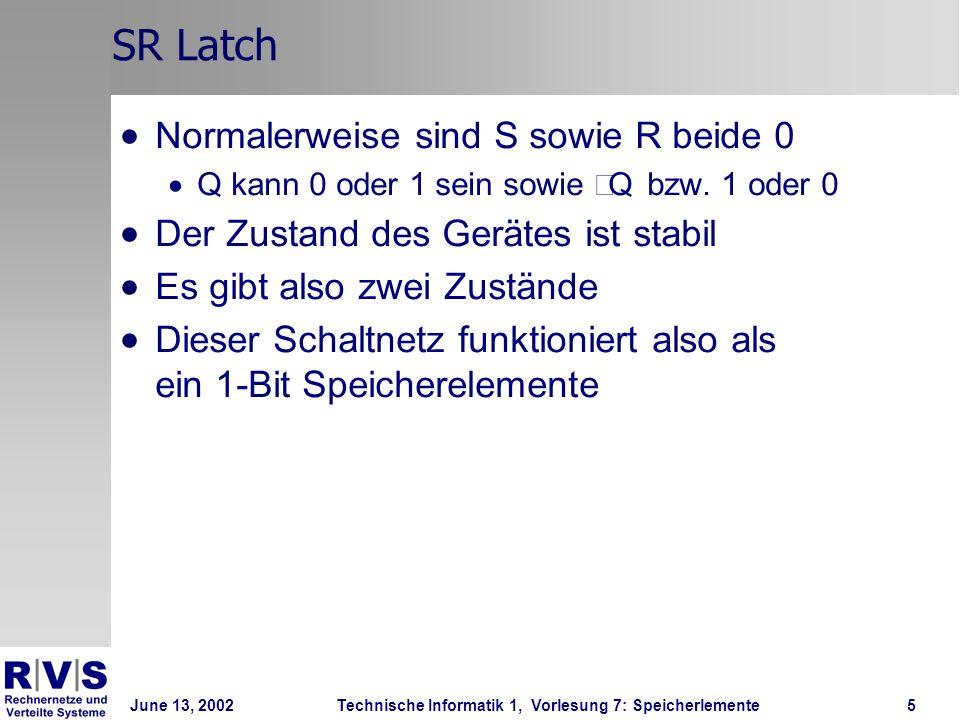 June 13, 2002Technische Informatik 1, Vorlesung 7: Speicherlemente5 SR Latch Normalerweise sind S sowie R beide 0 Q kann 0 oder 1 sein sowie Q bzw.