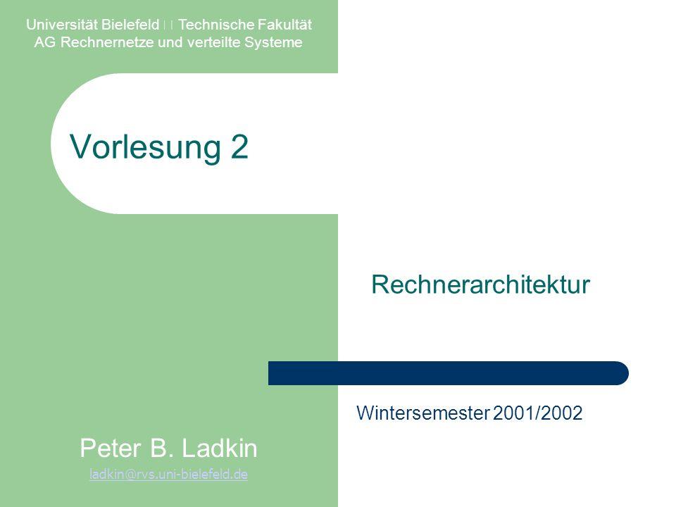 Vorlesung 2 Rechnerarchitektur Universität Bielefeld – Technische Fakultät AG Rechnernetze und verteilte Systeme Peter B.
