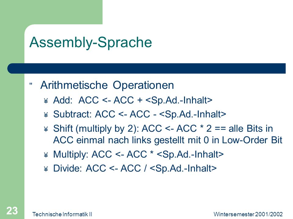 Wintersemester 2001/2002Technische Informatik II 23 Assembly-Sprache