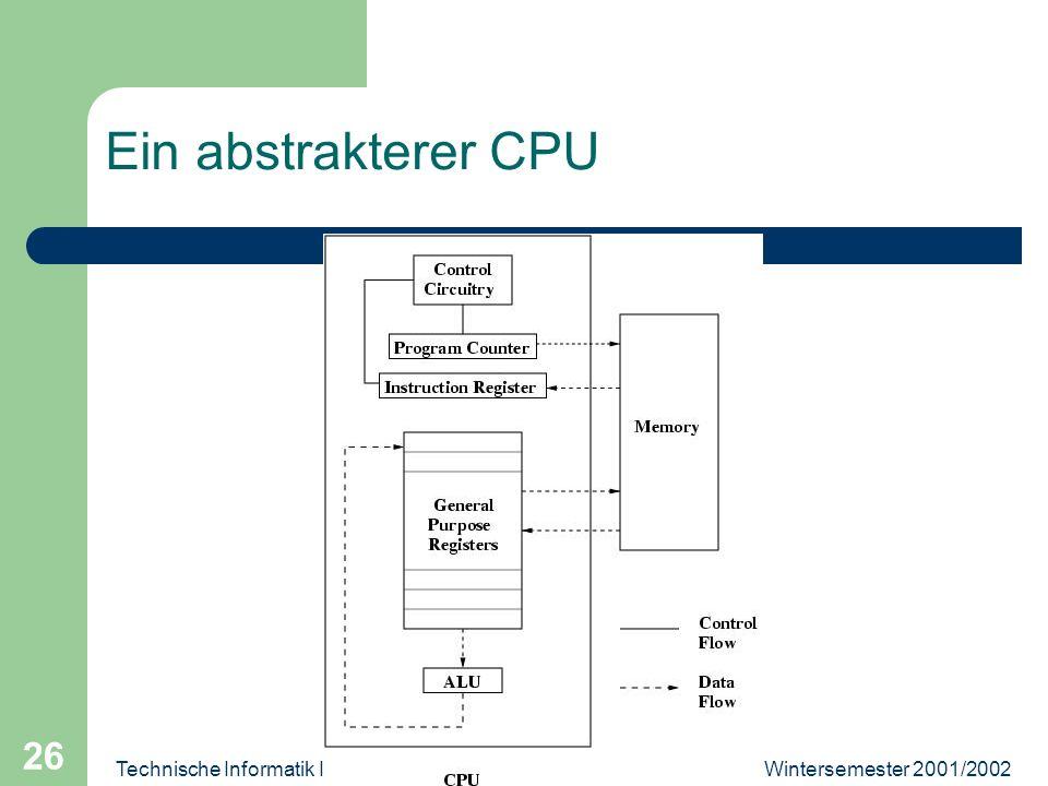 Wintersemester 2001/2002Technische Informatik II 26 Ein abstrakterer CPU