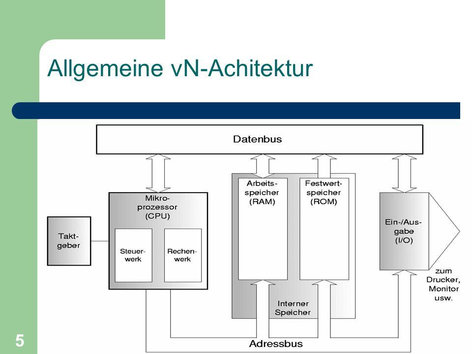 Wintersemester 2001/2002Technische Informatik II 5 Allgemeine vN-Achitektur